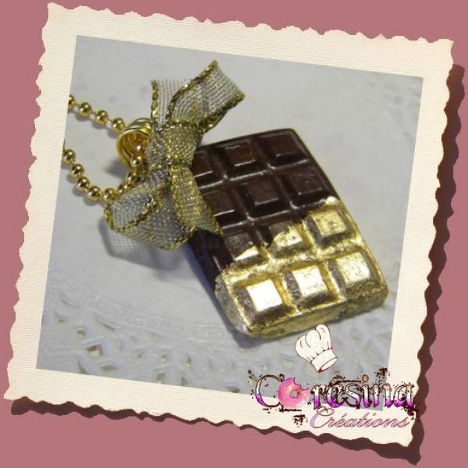 "collier ""tablette chocolat noir gold"""