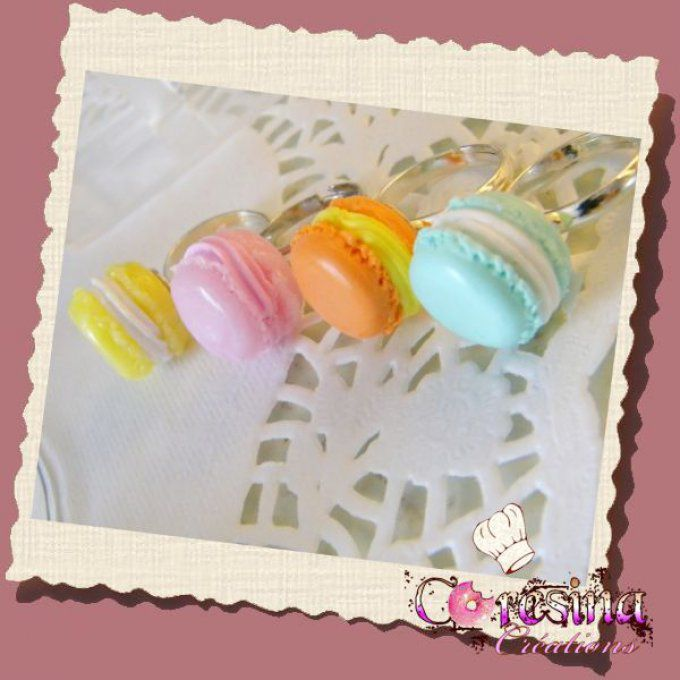 "bijoux gourmands:Collection PASTEL Bague macaron ""sorbet Abricot chantilly"""