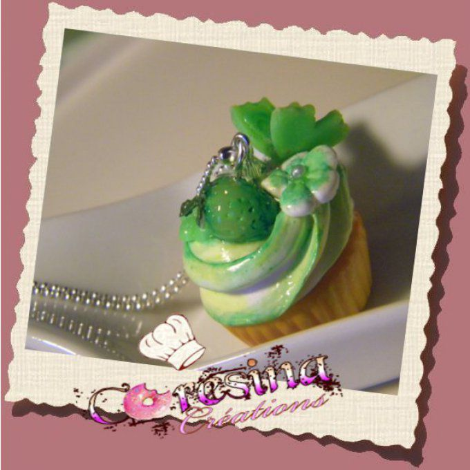 "Collier Cupcake ""Candy a la pomme"""