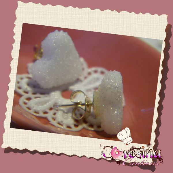 "bijoux gourmands:Puce d'oreilles sucre"" Bubble tea ""coeur"